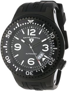 Swiss Legend Men's 11819A-BB-01-W Neptune Automatic Black Dial Black Silicone Watch >>> Check this awesome watch by going to the link at the image.