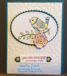 Stampin' Up! Feathery Friends is a hostess stamp set. This is a fun set to work with. Ask me how this gorgeous little set can be yours!