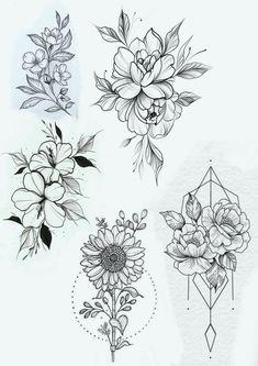Tattoo Designs Foot, Floral Tattoo Design, Flower Tattoo Designs, Flower Tattoos, Flower Design Drawing, Flower Tattoo Drawings, Mom Tattoos, Body Art Tattoos, Sleeve Tattoos