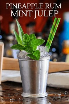 This Pineapple Mint Julep is full of flavor with pineapple rum, blackstrap rum, bourbon, mint and molasses. A great crushed ice cocktail! #cocktails #rum #whiskey #mint Hot Tea Recipes, Rum Punch Recipes, Rum Recipes, Easy Drink Recipes, Best Cocktail Recipes, Cooking Recipes, Party Food And Drinks, Dessert Drinks, Desserts