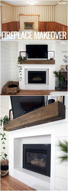 This dated mantel and fireplace makeover is stunning! Shiplap combined with penny tile and a wood beam mantel.