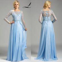 Exquisite Light Blue Beading Prom Dresses 2015 Square Collar Long Sleeve Chiffon Special Occasion Dress Custom Vestidos 66016 (China (Mainland))