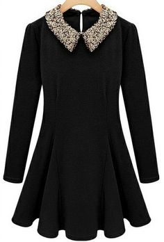 Black Contrast Sequined Collar Long Sleeve Skater Dress