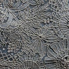 Handmade 19th C.  Point de Gaze needle lace handkerchief  collect bride