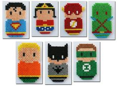 Perler Bead JLA Justice League of America Chibi Bean Fridge Magnet or Wall Art Set of 7