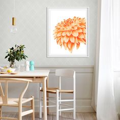 Orange chrysanthemum Orange flower painting Flower watercolor