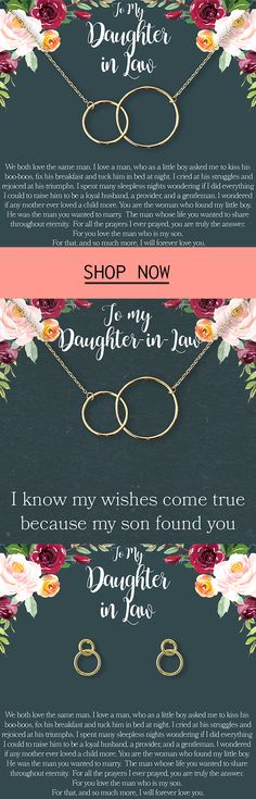 The stereotype that daughter-in-laws and mother-in-laws don't get along is overblown. In reality, most Mother's just want the best for the son. Show your daughter-in-law that you care with these interlocking circles representing your bond. Daughter In Law Gifts, Future Daughter, Spa Gifts, Unique Presents, Best Christmas Gifts, Inspirational Thoughts, Dollar Stores, Circles, Mothers