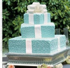 Tiffany Blue wedding cake in the shape of boxes? SIGN ME UP