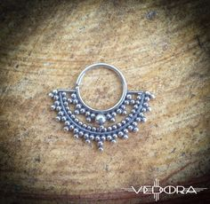 Small India inspired silver septum nose ring Ethnic Fan by Vedora