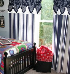 Adorable Bandana Curtain Topper : september : Shop | Joann.com Bathroom Curtains, Drapes Curtains, Bandana Curtains, Cowboy Bedroom, Data Room, Bandana Crafts, Barn Apartment, Sewing Projects, Diy Projects