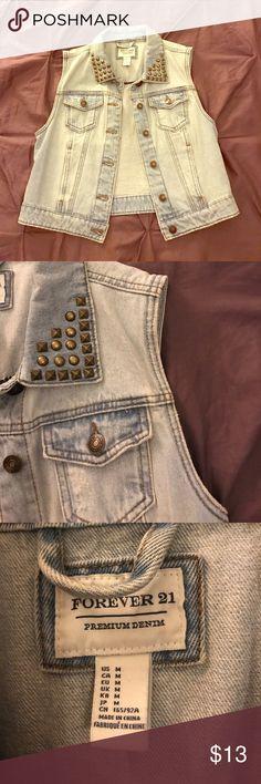 Light denim vest Forever 21 light denim vest with studded collar. Forever 21 Tops