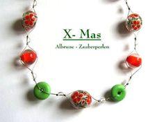 Halskette No 98 X-MAS ~ handgedrehte Glasperlen