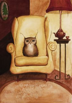 Herbert Enjoys Comfy Chairs  Fine Art Print by maggieshurley, $20.00