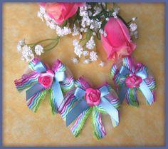 Noeuds organza arc en ciel noeud satin bleu fleur papier (2p) : Déco, Customisation Textile par orkan28