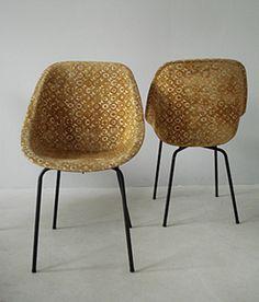 Geneviève Dangles and Christian Defrance; Upholstered Molded Fiberglass and Enameled Metal Chairs for Burov, 1957.