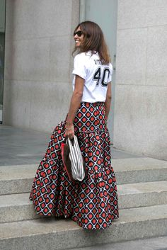 graphic tee, printed maxi skirt