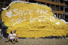 Save the Date painted on the Rock - how cute is this?!