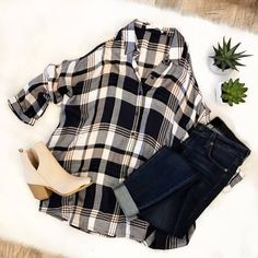 || Perfect Plaid Button Up Cold Shoulder Top || + || Make You Happy Super Seamless Skinny Jean || + || Nashville Nights Suede Ankle Bootie || Click the picture to Shop