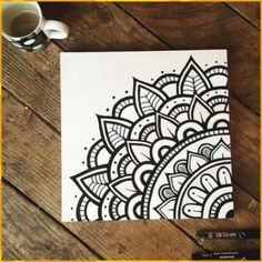 Immaculate Black and White Mandala Drawing .- Makellose Schwarz-Weiß-Mandala-Zeichnung … Makellose Schwarzweiss-… Impeccable black and white mandala drawing … Immaculate black and white mandala drawing with markers on burlap - Mandala Artwork, Mandala Painting, Easy Mandala Drawing, Mandala On Canvas, Doodle Canvas, Mandala Sketch, Mandala Doodle, Doodle Patterns, Zentangle Patterns