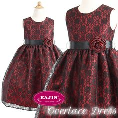 Girls Over Lace Party Dress  Classic with Style.  Now at $87 with FREE International Shipping.    #lace, #dress, #girls, #over, #red, #kids, #formal, #wear, #party