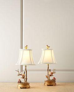 Porcelain Bird Lamps - Neiman Marcus