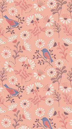 Lewis and irene - a little bird told me - a little bird told Flower Wallpaper, Screen Wallpaper, Pattern Wallpaper, Wallpaper Backgrounds, Iphone Wallpaper, Surface Pattern Design, Pattern Art, Print Patterns, Impression Textile