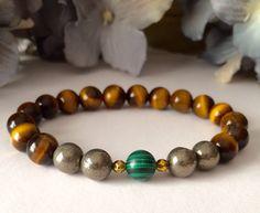 Tiger Eye, Pyrite, Malachite Men's Bracelet - Success & Wealth