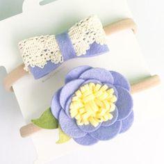Felt Flower Headband - Perriwinkle Felt Flower Crown and Bow Set