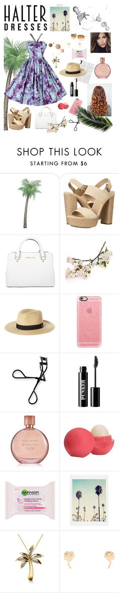 """""""Halter Dress Style"""" by swiftieforlikeever ❤ liked on Polyvore featuring Michael Kors, Crate and Barrel, Rip Curl, Casetify, Bobbi Brown Cosmetics, Ardency Inn, Estée Lauder, Eos, Garnier and Lumière"""