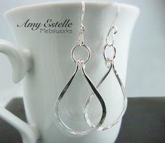 Sterling Silver Teardrop Hoop Earrings  by AmyEstelleMetalworks, $42.00