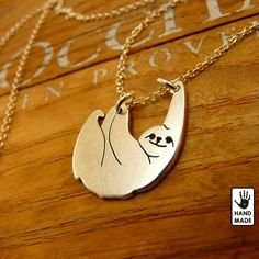 SLOTH -slow living,  sterling silver necklace handmade