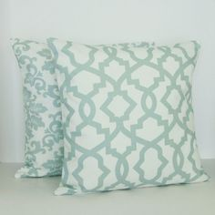 Two (2), beautiful, 18x18 throw pillow covers in a pale, seafoam spa green and white damask and geometric lattice print. These beautiful pillow
