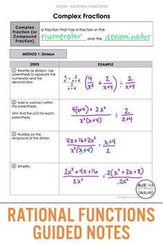 Algebra Help, Algebra Lessons, Algebra Worksheets, Printable Worksheets, Math Teacher, Teaching Math, Algebra Formulas, Simplifying Algebraic Expressions, Rational Function