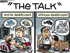 "This comic is a perfect example of visual satire. It addresses a serious issue about racial profiling in a humorous context. I found this image of NPR.org. The contrast between black and white family about the infamous ""talk"" with their children is used to demonstrate satire, as it is an uncomfortable subject yet it's stated in a joking matter in this image. http://www.npr.org/2013/07/19/203342650/double-take-toons-lessons-from-zimmerman"