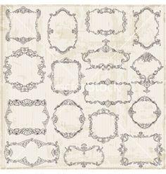 Vintage frames and calligraphic design elements vector