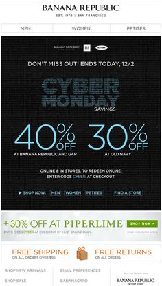 4be54fb510 Banana Republic - Cyber Monday discounts at 3 brands (BR
