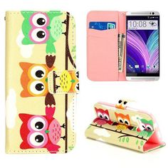 Kleurrijke uiltjes bookcase voor HTC One Mini 2