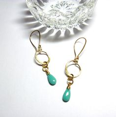 Brass Dangle Hoops with Turquoise Color Drop Charm Earrings Turquoise Color, Dangles, Brass, Charmed, Drop Earrings, Personalized Items, How To Make, Jewelry, Style