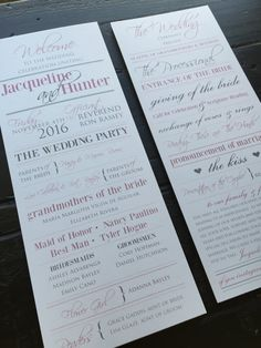 Wedding Programs Pink and Grey custom to your by TheDesignBrewery