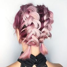 braid, hair style, and pink hair image