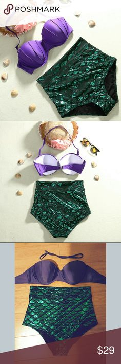 MERMAID  HIGHWAISTED SWIMSUIT Medium  Top fits 36b 34b 32c maybe  34c Removable halter strap bikini top and bottom  This is so gorgeous wear it swiming or dress up as  Ariel Swim Bikinis