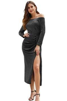 Metallic Glitter Off Shoulder Formal Dress – Jeprivfashion Metallic Formal Dresses, Metallic Dress, Evening Dresses, Prom Dresses, Tube Top Dress, Party Looks, Types Of Collars, Tight Dresses, Fancy Dress