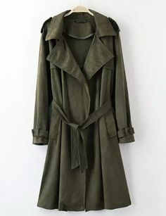 #fashion #accessories Military Belted Fold-Over Collar Trench Coat in longline   Army Green by Moda Tendone - Trenchcoat Army Green, Clothes, Fashionable, Trenchcoat, Women