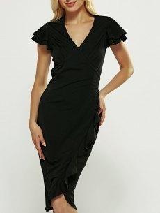 #BFCM #CyberMonday #yoshop.com - #yoshop V-Neck Ruffle Bodycon Wrap Dress - AdoreWe.com