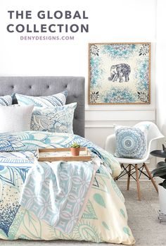 Imagine a bedroom composed of soothing blues and greens to make you feel like you are at the spa. Can't you just hear the om? The Global Serenity Room Collection by http://DENYDesigns.com?utm_content=buffer2b158&utm_medium=social&utm_source=pinterest.com&utm_campaign=buffer is centered around a beautiful mandala design duvet, accompanied by mix and match ombre throw pillows, elephant art, and a custom made floral credenza that comes together to create a tranquil bedroom.