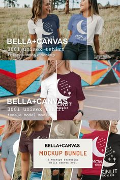 Get FIVE of our Bella Canvas Women's 3001 Mockups at a discount when you buy our mockup - even includes one of our unique 'friends' mockups (two models, two editable shirts). These mockups are 4k resolution, photo-realistic, and include all 94 colors available in the Bella Canvas color library for this specific shirt in both solid cotton, prism, and heather fabrics. The only mockups on Creative Market that combine high-quality modern lifestyle photography with specific and genuine products… Free Photoshop, Free Graphics, Mockup Templates, Bella Canvas, Lifestyle Photography, Print Design, Fabrics, Models, Friends