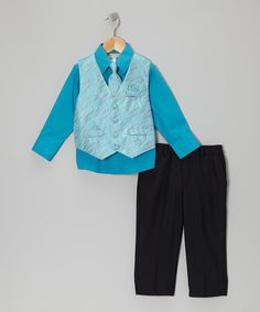 Take a look at this Turquoise Spindle Vest Set - Infant, Toddler & Boys on zulily today!