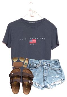 A fashion look from October 2017 featuring denim shorts brown bag and ray ban aviator. Browse and shop related looks. Cute Lazy Outfits, Cute Outfits For School, Teenage Outfits, Teen Fashion Outfits, Simple Outfits, Outfits For Teens, Trendy Outfits, Girl Outfits, Summer Camp Outfits