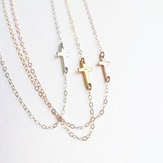 Tiny Sideways Cross Necklace Gold Cross Necklace Rose Gold