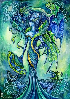 Jade Dragon Empress Watercolor Painting by TrolladrielCreations, $18.00  Reminds me of a dragon and Elderling